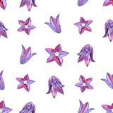 Watercolor seamless pattern with blue bluebells flowers. Rustic floral design for wedding invitations and birthday cards Royalty Free Stock Photography