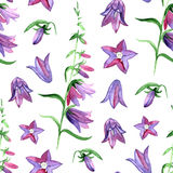 Watercolor seamless pattern with blue bluebells flowers. Rustic floral design for wedding invitations and birthday cards. Seamless pattern with blue bluebells royalty free illustration
