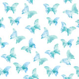 Watercolor seamless pattern with blue butterflies. Vector format vector illustration