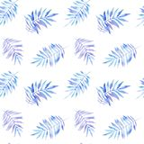 Watercolor seamless pattern of blue fern twigs on white background stock illustration