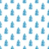 Watercolor seamless pattern with blue fir trees. Decorative hand drawn watercolor seamless pattern with blue fir trees on a white background Stock Image