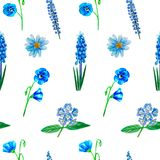 Watercolor seamless pattern with blue flowers, aster, lupine, muscari, heliotrope, flax, isolated vector illustration