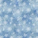 Watercolor seamless pattern with blue gradient background and sn. Seamless pattern with blue gradient background and snowflakes. Watercolor hand drawn royalty free illustration