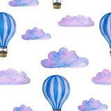 Watercolor seamless pattern with blue hot air balloons, clouds and airship isolated on white royalty free illustration