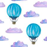 Watercolor seamless pattern with blue hot air balloons, clouds and airship isolated on white vector illustration