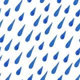 Watercolor seamless pattern of blue rain drops Royalty Free Stock Photo