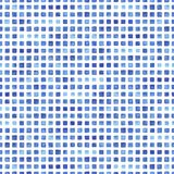 Watercolor seamless pattern with blue rectangle. Stock Photos