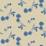 Watercolor seamless pattern with blue roses and leaves on beige background. Chinese motifs. Fine pattern for backgrounds, textiles, wallpapers, wrapping paper royalty free stock image