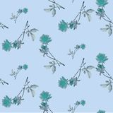 Watercolor seamless pattern with blue roses and   leaves  on blue background. Chinese motifs.  Fine pattern for backgrounds, textiles, wallpapers, wrapping Stock Image