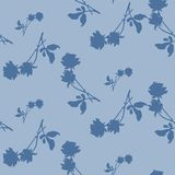 Watercolor seamless pattern with blue roses and   leaves  on light blue background. Chinese motifs.  Fine pattern for backgrounds, textiles, wallpapers Royalty Free Stock Photos