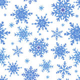 Watercolor seamless pattern with blue snowflakes Royalty Free Stock Photos