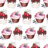Watercolor Seamless pattern blueberries cupcakes Stock Photography
