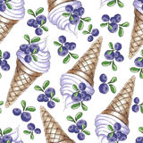 Watercolor Seamless pattern  blueberries ice-cream Royalty Free Stock Images