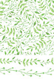 Watercolor seamless pattern,borders.Vintage Green Royalty Free Stock Photo