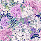 Watercolor seamless pattern with a bouquet of chrysanthemum Stock Images