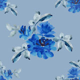 Watercolor seamless pattern with bouquets of blue roses on blue background. Watercolor seamless pattern with bouquets of blue roses on pink background. Fine Stock Photography
