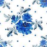 Watercolor seamless pattern with bouquets of blue roses and blue polka on white background. Fine pattern for backgrounds, textiles, wallpapers, wrapping paper Stock Photo
