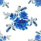 Watercolor seamless pattern with bouquets of blue roses on white background. Fine pattern for backgrounds, textiles, wallpapers, wrapping paper, postcards and Stock Image