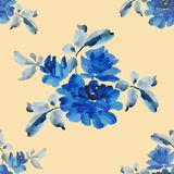 Watercolor seamless pattern with bouquets of blue roses on yellow background. Fine pattern for backgrounds, textiles, wallpapers, wrapping paper, postcards and Royalty Free Stock Images