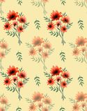 Watercolor seamless pattern of bouquets of field orange flowers on a white background. Watercolor seamless pattern with beautiful wild orange flowers and green Royalty Free Stock Photo
