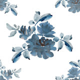 Watercolor seamless pattern with bouquets of gray roses on white background. Royalty Free Stock Photos