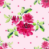 Watercolor seamless pattern with bouquets of pink roses and pink polka on pink background. Watercolor seamless pattern with bouquets of pink roses with green Stock Images