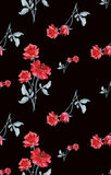 Watercolor seamless pattern with bouquets of red roses  on black background. Royalty Free Stock Images