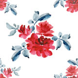 Watercolor seamless pattern with bouquets of red roses on white background. Stock Photo