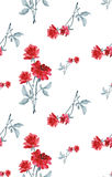 Watercolor seamless pattern with bouquets of red roses  on white background. Fine pattern for backgrounds, textiles, wallpapers, wrapping paper, postcards and Stock Photo