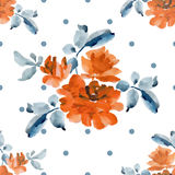 Watercolor seamless pattern with bouquets of yellow roses and gray polka on white background. Stock Image