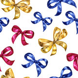 Watercolor seamless pattern with bows. Colorful isolated decorative elements. Stock Photos