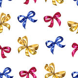 Watercolor seamless pattern with bows. Colorful isolated decorative elements. Stock Photography