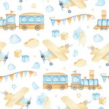 Watercolor seamless pattern with boys toys train airplane cubes clouds stock illustration