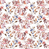 Watercolor seamless pattern with branches Royalty Free Stock Photo