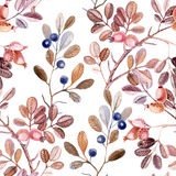 Watercolor seamless pattern with branches Stock Photography
