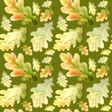 Watercolor Seamless pattern with bright colors forest oak leaves Beautiful autumn background in orange, green, yellow. Watercolor Seamless pattern with oak stock photo