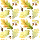 Watercolor Seamless pattern with bright colors forest oak leaves and branches. Beautiful autumn background in orange. Watercolor Seamless pattern with oak leaves royalty free stock images