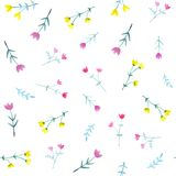 Watercolor seamless pattern with bright flowers and leaves vector illustration