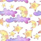 Watercolor seamless pattern with bright rainbow clouds, moon and stars on white background. stock illustration