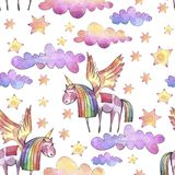 Watercolor seamless pattern with bright rainbow clouds, moon and stars on white background. Hand painted art watercolor illustration stock illustration