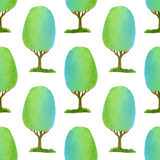 Watercolor seamless pattern with bright trees. Green texture for fabric, paper and other printing and web background. Watercolor seamless pattern with bright Stock Photos