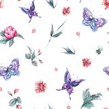 Watercolor seamless pattern buds and butterflies Royalty Free Stock Images
