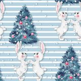 Watercolor seamless pattern with bunny and fir tree Stock Photos