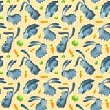 Watercolor seamless pattern bunnys royalty free illustration