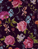 Watercolor Seamless Pattern with Burgundy Peonies Royalty Free Stock Photo