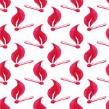 Watercolor seamless pattern with burning match Stock Photography