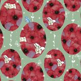 Watercolor seamless pattern with butterflies and red poppies collected in the shape of the Easter egg on a light green background. In abstract style Royalty Free Stock Photo