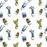 Watercolor seamless pattern with cactuses. stock illustration