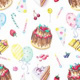 Watercolor seamless pattern with cake,  balloon, candies and fru. Seamless background pattern with cakes, balloon, candies and fruits. Watercolor hand drawn Royalty Free Stock Images