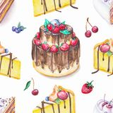 Watercolor seamless pattern with cake and fruits. Seamless background pattern with cakes and fruits. Watercolor hand drawn illustration Royalty Free Stock Photo